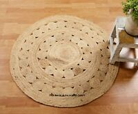 Floral Braided Round Natural Jute Rug Area Mats Rag Ethnic Floor Carpet Area Mat