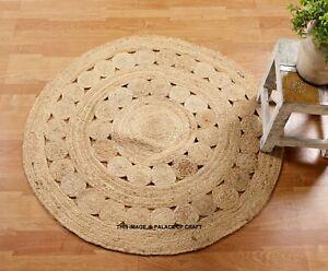 Floral Braided Round Natural Jute Rug Area Mats Rag Ethnic Floor Carpet Area Mat