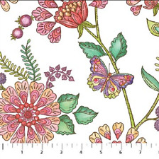 "Northcott - Enchanted - Pink Spring Garden Cotton Fabric - 4yds 25"" - Free Ship"