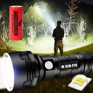 2021 Super bright 90000lm Flashlight LED P70 Tactical Torch 5000mAh Battery