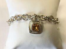 Sterling Silver 925 & 14k Yellow Gold SLV Citrine Chain Link Bracelet