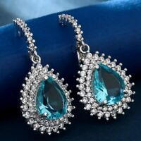 Gorgeous Drop Earrings for Women 925 Silver Jewelry Auqamarine A Pair/set