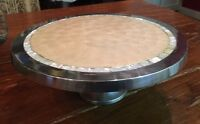"Casa Cristina 12""  Round Silver Cake Plate Stand Mother of Pearl Inlay Unique"
