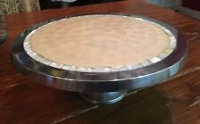 """Casa Cristina 12""""  Round Silver Cake Plate Stand Mother of Pearl Inlay Unique"""