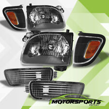 2001 2002 2003 2004 Toyota Tacoma Black Headlights+Amber Corner+Bumper Lamps Set