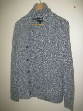 Banana Republic Cable Knit Shawl CARDIGAN button sweater Gray WOMENS M medium =o
