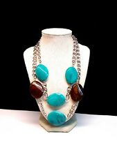 Layered Chain & Link Necklace Blue & Brown Lucite Multi