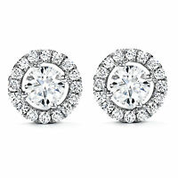 1.60 Ct Solitaire Diamond Earrings Stud 14K Solid White Gold Earring Round Cut