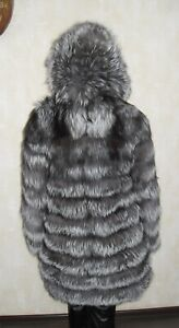 Ideal fur coat made of natural silver fox fur with a hood (not sable, not chinch