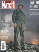 Paris Match Magazine Fidel Castro Isabelle Adjani David Hamilton Francois Fillon