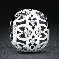 2016New Authentic 925 Sterling Silver Intricate Lattice Clear CZ Flower Charm