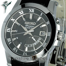 New SEIKO PREMIER KINETIC BLACK FACE Day Date LEATHER CLASP STRAP SRN039P2