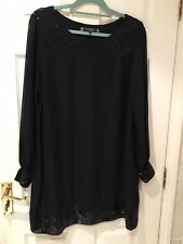 Black Sequin Embellished Chiffon Tunic Dress 18 Xmas Party Occasion