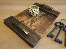 Rustic Reclaimed Wood Serving / Decorative Tray + Handle - farmhouse shabby chic