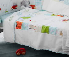 Brand new in bag Izziwotnot brum brum cot and cot bed quilt Little red car
