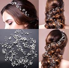 Faux Ivory Pearl Rhinestone Crystal Wedding Flower Hair Vine Headpiece
