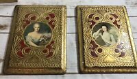 """Lot 2 vintage red gold ornate  wood Plaque woman italian 6""""x 8"""" Florentine"""