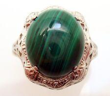 14K Gold Oval Genuine Natural Malachite Filigree Ring (#J2900)