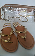 New Jessica Simpson gold liquid metal strappy thong sandals size 9 M JS-Rorie