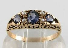 DIVINE 9CT GOLD IOLITE & PEARL VICTORIAN INS RING FREE RESIZE