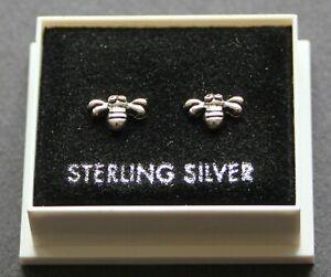 Sterling Silver 925 Stud Earrings  BUMBLE BEE ,  BUTTERFLY BACKS BOXED  STUD 106
