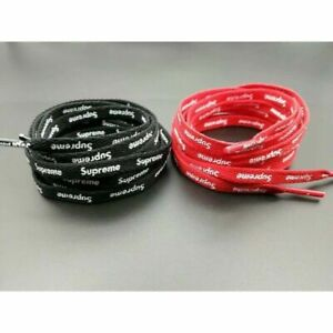 NEW RED OR BLACK SUPREME SHOELACES DOUBLE SIDED STAMPED LOGO FREE SHIPPING