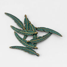 10pcs Antique Bronze Patina Wing Feather Leaf Leaves Charms Pendant Jewelry Bead