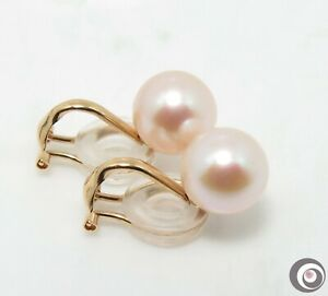 Solid 18K Yellow Omega Clip Earrings + 9.0 - 9.5mm Large Cultured Pearls #E1900
