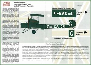1/72 DECALS; Vickers Vimy G-EAOU England to Australia 1919