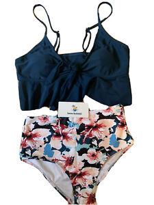 Navy Blue Tankini / Bikini Floral High waisted Beachsissi, BNWT, Size 8 Small