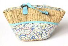 Vera Bradley Capri Blue Handbag Wicker Straw Fabric Tote Summer Beach Bag