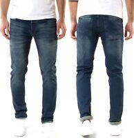 Serseri Herren Designer Slim Fit Stretch Jeans Hose Dunkelblau - W29, W30