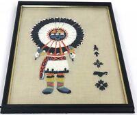 "Vintage 17"" Handmade Native American Sun Face Katchina Doll Needlepoint Wall Art"