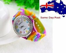 Silicone/Rubber Band Analogue Casual Round Wristwatches