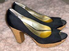 Jessica Simpson's Candi Black Fabric Platform Open Toe High Heels Sz 11