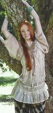 NWT SACRED THREADS sage embroidered ruffle lace cotton TOP TUNIC S Free shipping