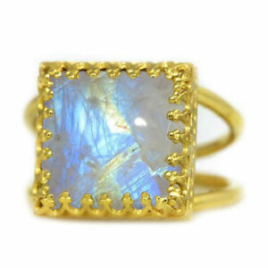 Natural Multicolor Rainbow Moonstone Cabochon Cut Gold Plated Rings Size H To Z