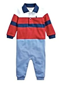 Baby boys Ex Ralph Lauren Lonng sleeved  Babyrow Romper Coverall age 24 mths
