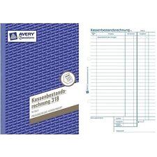Avery Zweckform Kassenbestandsrechnung 318, A5, 50er Kassenbuch, Kassenbestand