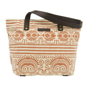 AMBER Shoulder Tote Red Brown Leather Tribal Straps Canvas Fabric Bella Taylor