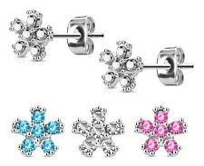 FLOWER Stud Earrings SURGICAL STEEL Hypoallergenic - Clear Pink or Aqua - BOXED