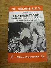 10/02/1974 programma Rugby League: ST. Helens V Featherstone Rovers (leggera piega)