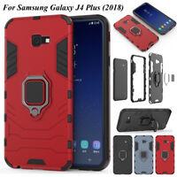 For Samsung J4 J6 Plus 2018, Shockproof Stand Hybrid Armor Magnetic Case Cover