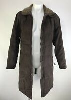LL Bean Women Knee Length Long Down Coat Quilted Brown, Sherpa Size Small Petite
