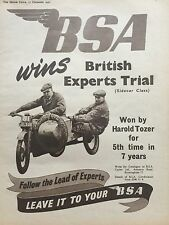 BSA SIDECAR TRIALS - ORIGINAL 1952 A4 B/W MOTORCYCLE ADVERT
