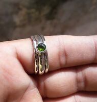 Peridot Stone Solid 925 Sterling Silver Spinner Ring Meditation statement Ring