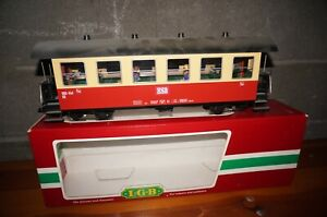 Rfa ] LGB G Scale - 30730 Passenger Car Hsb With Passengers & Lighting Boxed