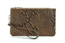 Genuine Leather Wristlet Wallet Travel Clutch W/ Zipper Money Compartment Brown