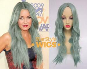 DELUXE PASTEL MINT GREEN LONG WAVY HEAT RESISTANT FASHION WIG CENTRE PART
