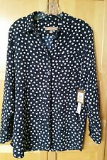 ELLEN TRACY Navy Button Down Blouse,  Size S YARN BALLS, Roll Tab Sleeves. NWT.